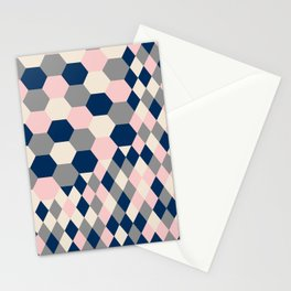 Honeycomb Blush and Grey Stationery Cards