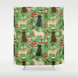 Labrador retrievers christmas festive holiday gifts for dog lover in your life dog breeds custom art Shower Curtain