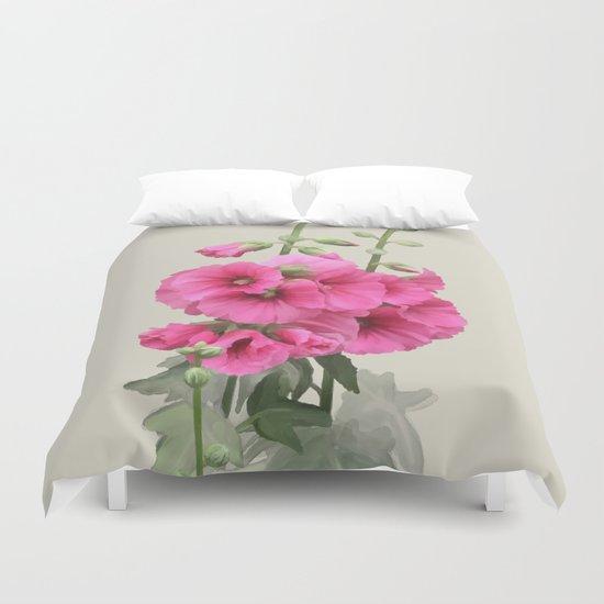Pink flowers, watercolors Duvet Cover