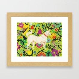 Spring Jindo Dog Framed Art Print