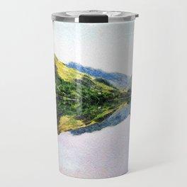 Buttermere Mirror Mountains, Lake District, UK. Watercolour landscape. Travel Mug