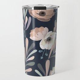 Anemones & Olives blue Travel Mug