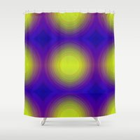 70s Shower Curtains featuring Flashy 70s,blue by MehrFarbeimLeben