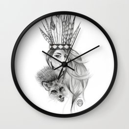 Foxes and Feathers Wall Clock