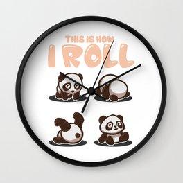 This Is How I Roll Panda Pun Kawaii Little Bear Wall Clock