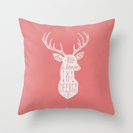 I LOVE YOU DEER - PINK Throw Pillow
