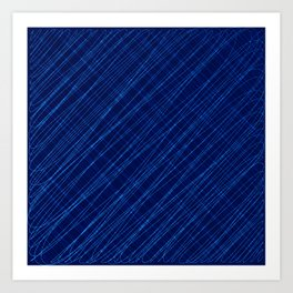 Cross ornament of their blue threads and iridescent intersecting fibers. Art Print