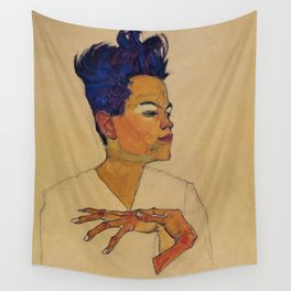 SELF PORTRAIT WITH HANDS ON CHEST - EGON SCHIELE Wall Tapestry