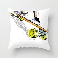 skate Throw Pillows featuring skate by Cal ce tin