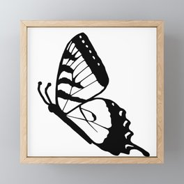 Delphiniums and Butterflies Black and White Framed Mini Art Print