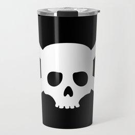 Simple White Crossbones Skull Travel Mug
