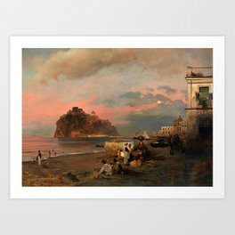 View of Ischia and Maronti Beach with Aragonese Castle by Oswald Achenbach Italian Landscape Art Print