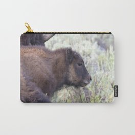 Watercolor Bison Calf 12, Yellowstone, WY Carry-All Pouch