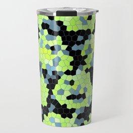 Cell Print Home Decor Graphic Design Pastel Colors Green Grey Blue Black Mint Lime Kiwi Travel Mug