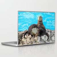 otters Laptop & iPad Skins featuring Where the River Meets the Sea Otters by Distortion Art