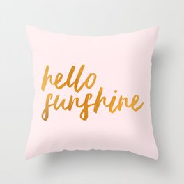 Hello sunshine - Gold and Pink Throw Pillow