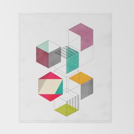 colorful cubes Throw Blanket