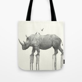rhinoceros with birds Tote Bag