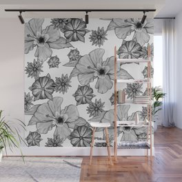 Floral Mood: Black and White II Wall Mural