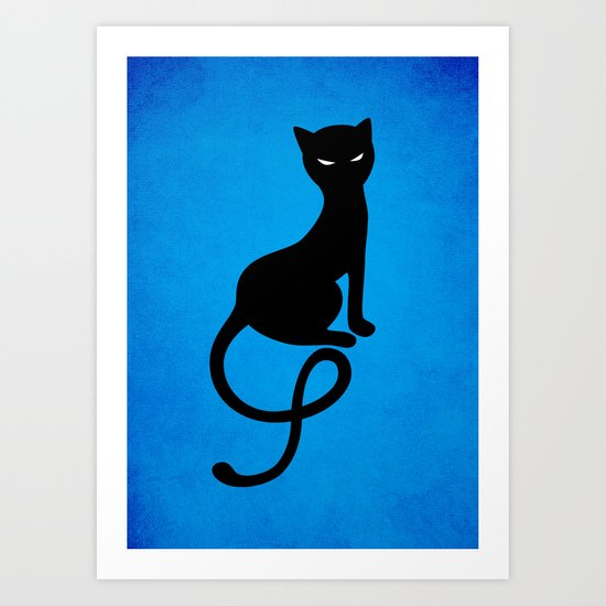 Blue Gracious Evil Black Cat Art Print