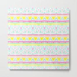 Modern bright hand drawn colorful geometric aztec pattern Metal Print