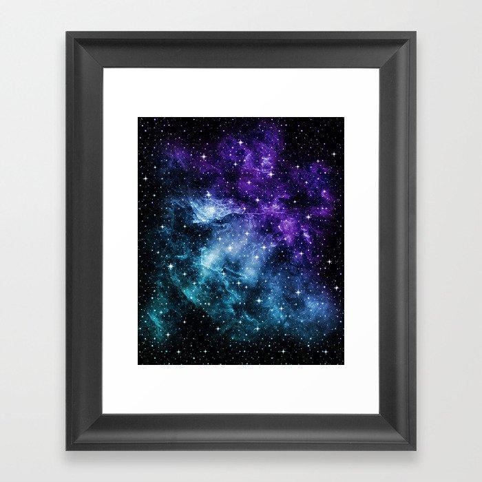 Purple Teal Galaxy Nebula Dream #1 #decor #art #society6 Gerahmter Kunstdruck