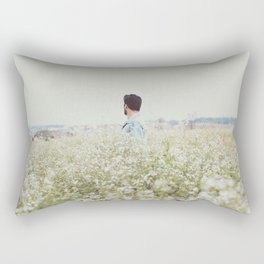 Man - Flowers - Field - Photography Rectangular Pillow