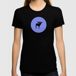 Bull Moose Silhouette on Periwinkle T-shirt