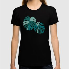 Monstera Leaves in Teal T-shirt
