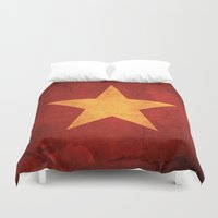vietnam Duvet Covers featuring Vietnam Flag by anhnt32