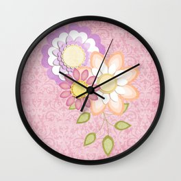 Colorful Spring Posy Pink Damask Style Brocade Wall Clock
