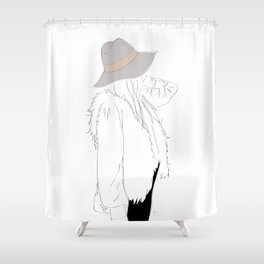 Gray Fall Fashion Hat Vest Girl Shower Curtain