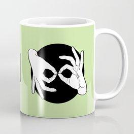 Sign Language (ASL) Interpreter – White on Black 15 Coffee Mug