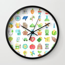 CUTE GREEN / ECO / RECYCLE PATTERN Wall Clock