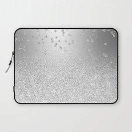 Modern silver glitter ombre metallic sparkles confetti Laptop Sleeve