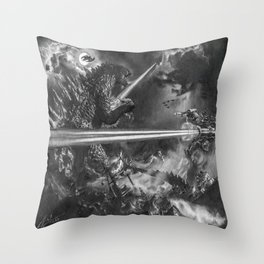 Godzilla versus Earth's Mightiest Heroes - - By Julio Lucas Throw Pillow
