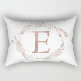 Letter E Rose Gold Pink Initial Monogram Rectangular Pillow