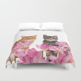 Red and Tiger cat in Lotos Flower Field Duvet Cover