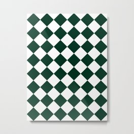 Large Diamonds - White and Deep Green Metal Print