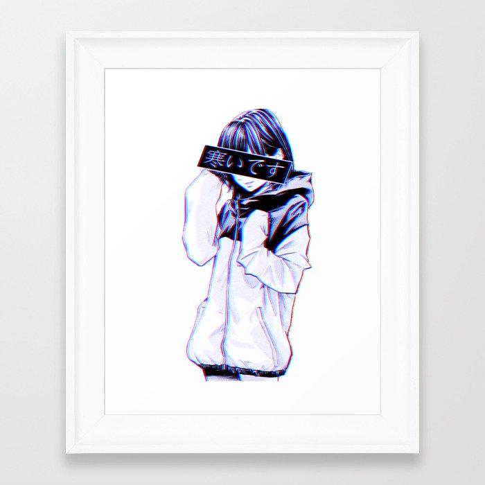 Cold Sad Japanese Anime Aesthetic Framed Art Print By Poser Boy