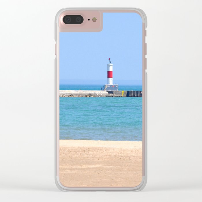 LIGHTHOUSE ON LAKE MICHIGAN Clear iPhone Case