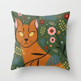 Caracal Cub Throw Pillow