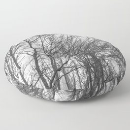 Black and white misty forest Floor Pillow