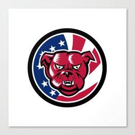 Bulldog Mascot American Flag Icon Canvas Print