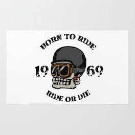 Vintage motorcycle t-shirt graphics. Born to ride. Ride or die. Biker t-shirt. Motorcycle emblem. Mo Rug