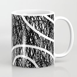 Scribble Ripples - Abstract Black and White Ink Scribble Pattern Coffee Mug