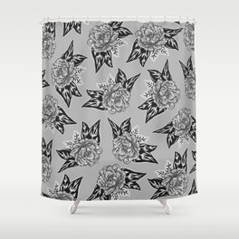 Cabbage Roses in Grey Shower Curtain