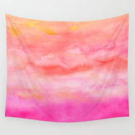 Bright pink orange sunset watercolor hand painted Wall Tapestry