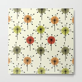 Midcentury Sputnik Starburst Flowers Chartreuse Metal Print