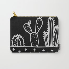 Cactus Planter Gray on Black Carry-All Pouch
